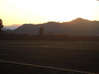 魚沼産コシヒカリの田んぼの向こうの夕焼け空